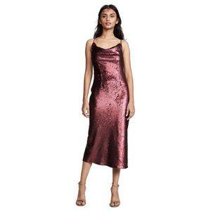 NWT Keepsake No Signs Berry Sequined Midi Dress